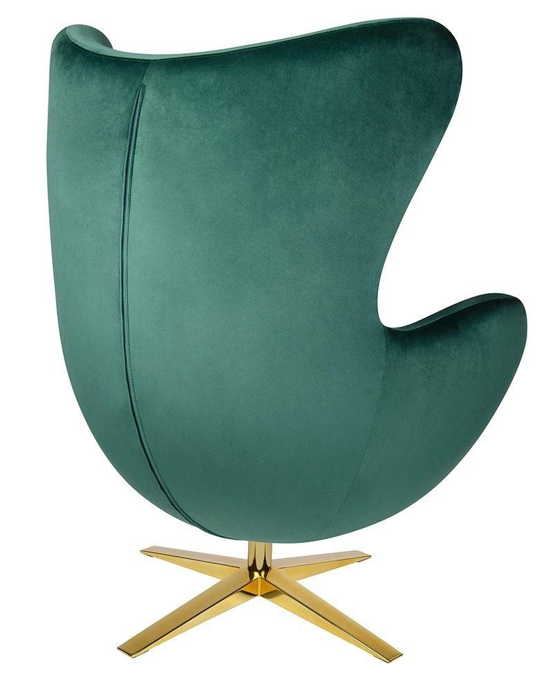 Fotel EGG SZEROKI VELVET GOLD ciemny zielony