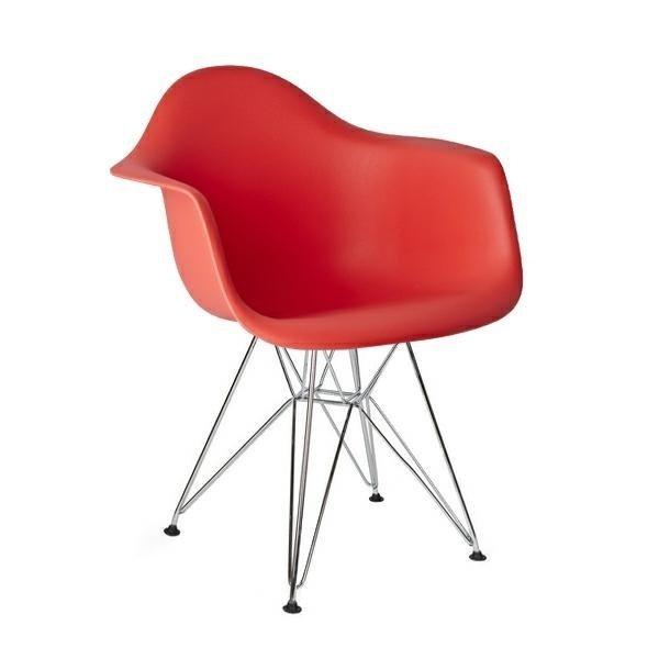 Fotel DAR SILVER czerwony/chrom