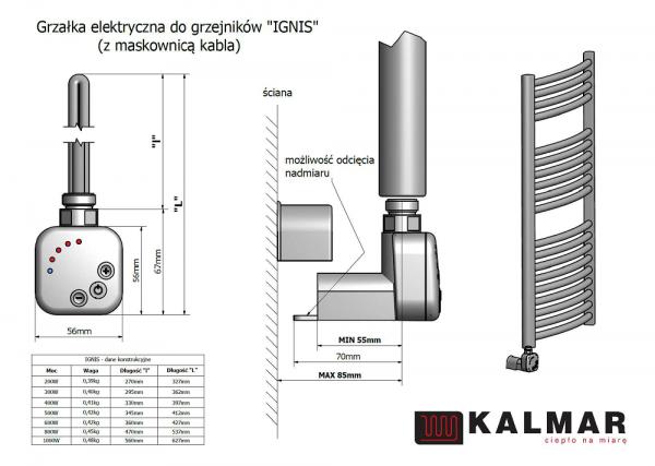 Grzałka Kalmar Radiators IGNIS - MS CZARNY MAT moc 200,300,400,600,800,1000W z maskownicą