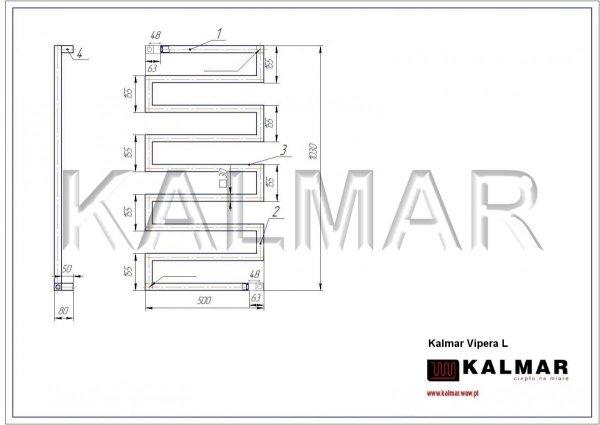 Grzejnik Kalmar Radiators VIPERA 1030x500 INOX POLER moc 412W