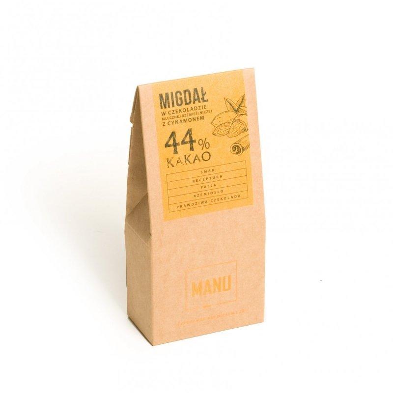 Migdały z cynamonem w mlecznej czekoladzie 44% - 80g