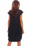 Sportowa sukienka z kieszeniami czarna M206 tyl