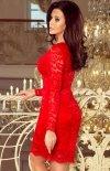 Koronkowa dopasowana sukiena Numoco czerwona 170-6 tył