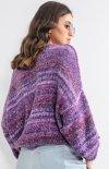 Oversizowy sweter multikolor fiolet F1163 tył