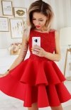 Piankowa sukienka z koronką 2175-02