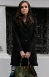 Wełniany płaszcz czarny Roco P012-2