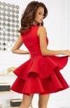 Rozkloszowana sukienka z pianką czerwona 2122-02 tył
