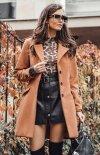 Elegancki płaszcz z wełną karmelowy Roco P018-1