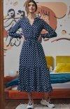 Długa sukienka w groszki S168 retro