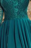 Sukienka z dłuższym tyłem zielona Numoco Nicolle 210-83