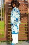 Bawełniany długi kardigan blue F1239 tył