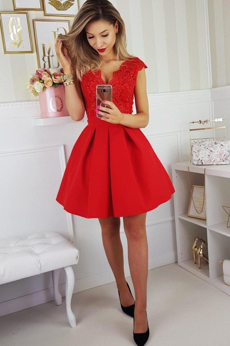 ecd5858cd78e1a Bicotone 2139-02 sukienka czerwona - Sukienki rozkloszowane ...