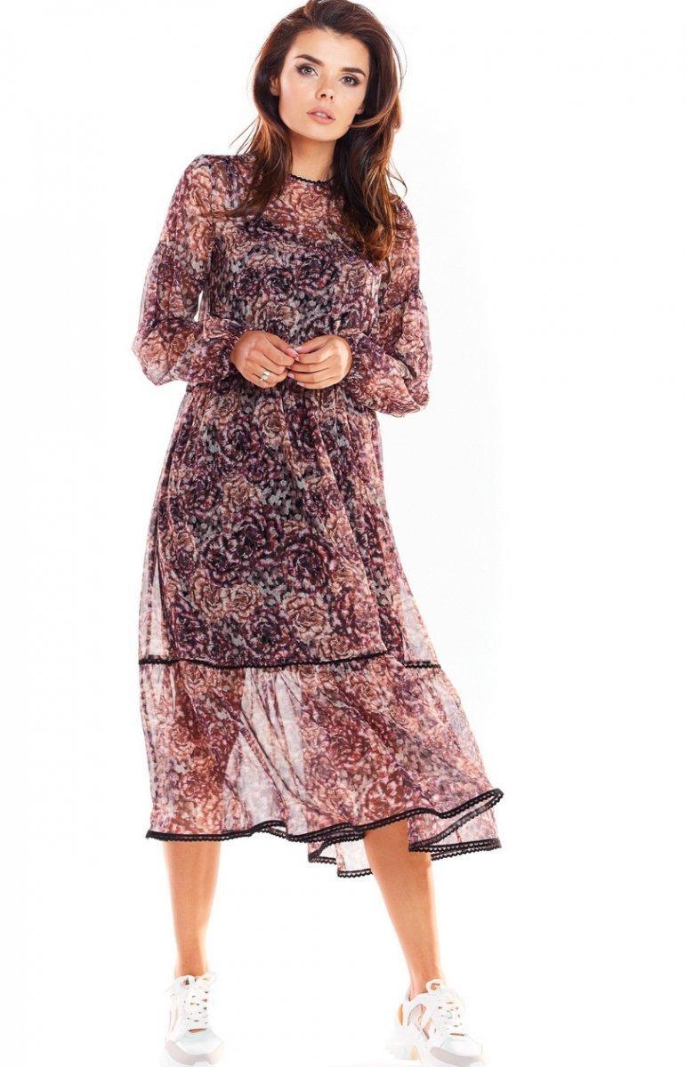 Szyfonowa midi sukienka Szary