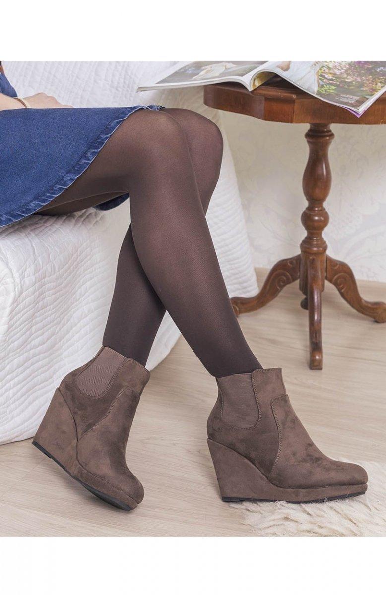 6f60ea240e150 Botki na koturnie brązowe - Eleganckie botki damskie - Modne obuwie ...