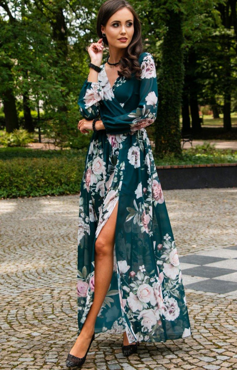 Stylowa sukienka maxi w kwiaty 0219D45 Odzież damska Roco