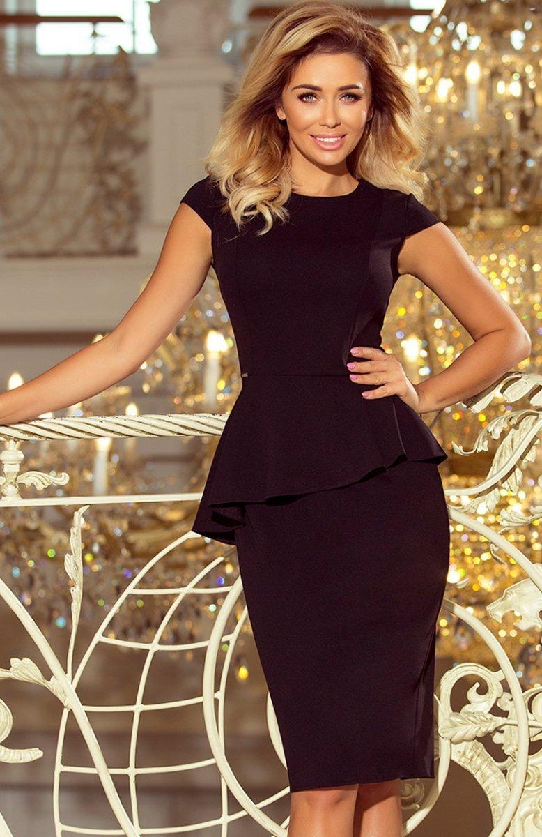 814ffef90f818e Numoco 192-3 sukienka z baskinką czarna - Sukienki ołówkowe - MODA ...