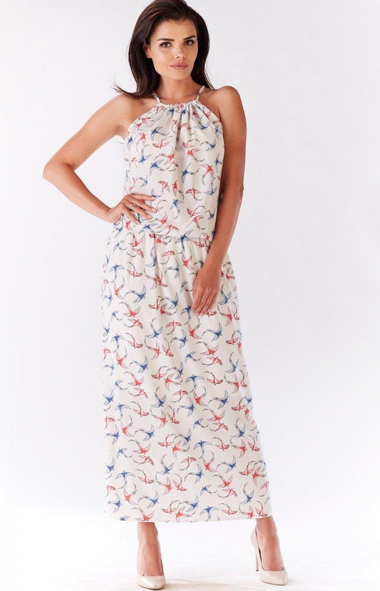 b68fe92038 Awama A184 sukienka ecru - Sukienki damskie Awama - Sukienki jesień ...