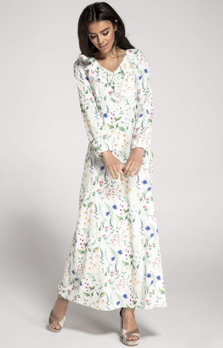 89ddabc7694073 Dzianinowa sukienka maxi biała w kwiaty NA1007 - Sklep Intimiti.pl ...