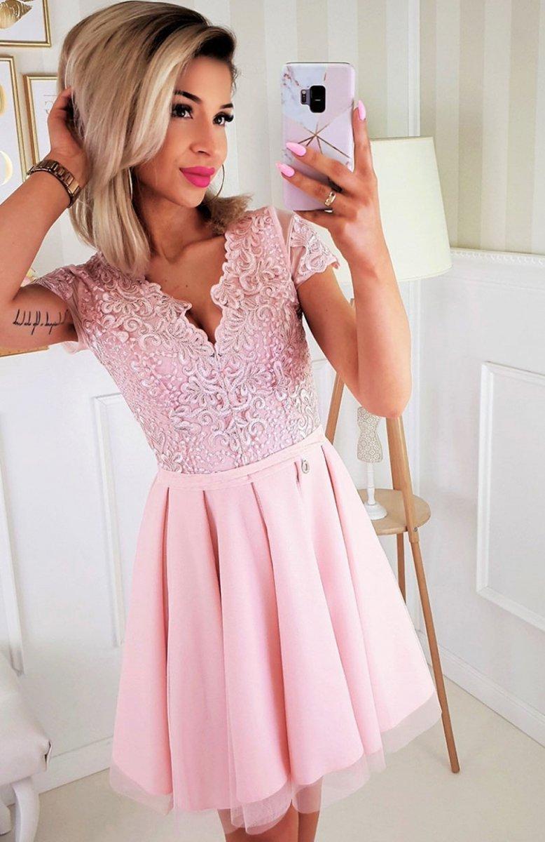 Bicotone 2180 12 sukienka rozkloszowana różowa