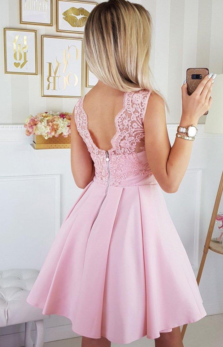 bef19f5716 Bicotone 2156-12 sukienka pudrowa - Sukienki rozkloszowane ...