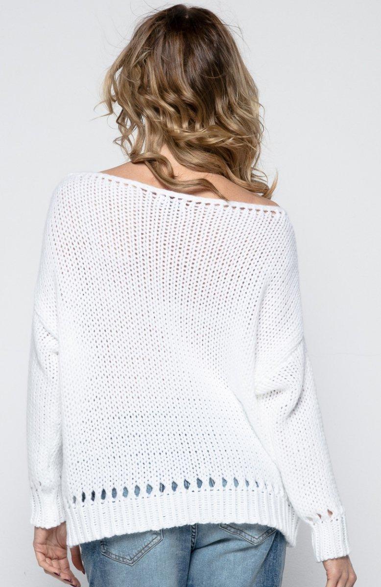 f6feae6e6a FIMFI I242 sweter biały - Modne swetry damskie 2018 - Swetry damskie ...