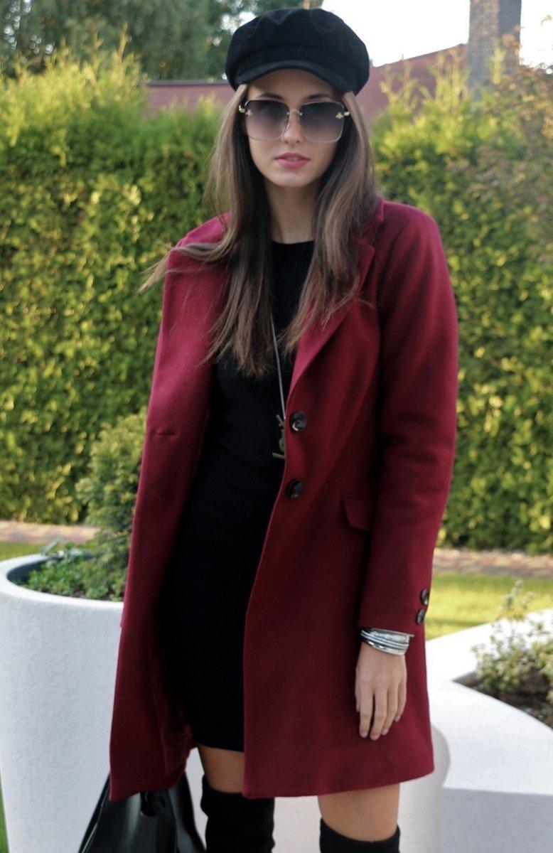 Roco P006 płaszcz bordowy Płaszcze i kurtki damskie Moda