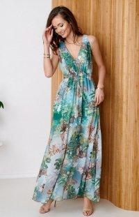 Długa sukienka w kolorowe kwiaty 0287/D99