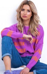 Fobya F623 sweter z napisami fioletowy