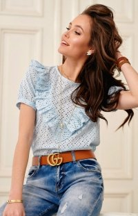 Ażurowa bluzka z falbankami niebieska 0063