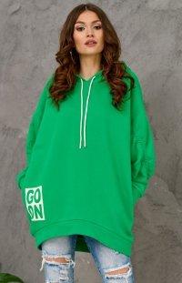 Oversizowa bluza damska z kapturem zielona 0006