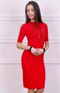 *Sukienka z półgolfem czerwona Roco 0235