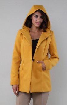 Karmelowy płaszcz z kapturem NA185LP