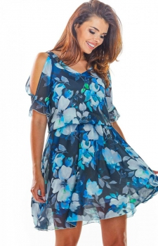 Zwiewna sukienka w kolorowy granatowy wzór A295