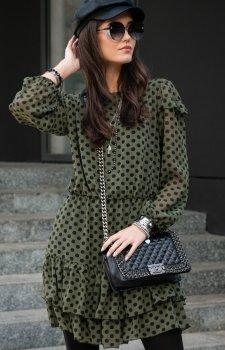 *Szyfonowa sukienka w zielone groszki 259/D90