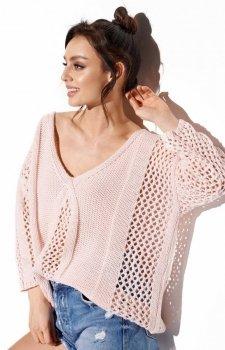 Ażurowy oversizowy sweter pudrowy róż LS281