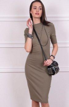 Sukienka z półgolfem zielona Roco 0235