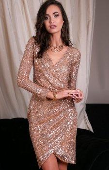 Wieczorowa sukienka cekinowa beżowa 0265