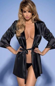 *Obsessive Satinia robe black komplet