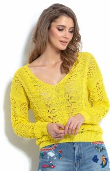 Lekki ażurowy sweterek żółty F1000