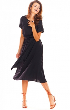 Elegancka sukienka midi czarna A296