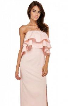 Maxi sukienka z hiszpańskim dekoltem różowa