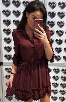 Lola sukienka plisowana bordowa