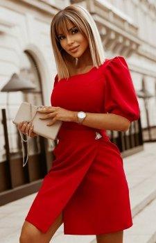 Bicotone sukienka wizytowa z broszką  2222-02