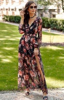 Długa sukienka w kwiaty 0219/R68