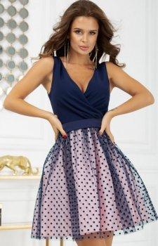 Rozkloszowana sukienka w groszki 2217-11