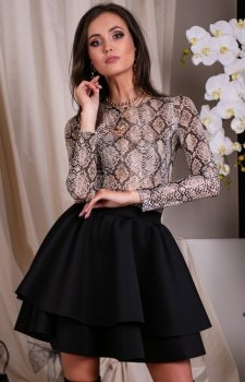 Mini sukienka z podwójną falbaną 260/T03