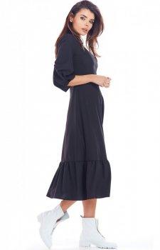 Sukienka maxi z falbaną czarna A345