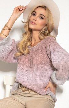 Oversizowy sweter ombre pudrowy róż F1157