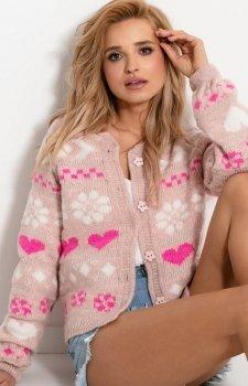 Uroczy sweterek w serduszka pudrowy róż F925
