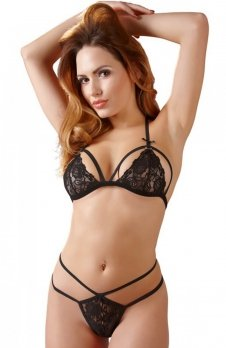 Cottelli Collection Lace set biustonosz i stringi